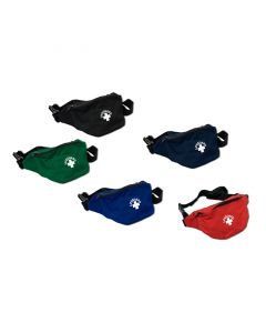 Two Pocket Lifeguard Hip Pack in Red, Royal, Navy, Green and Black With White Lifeguard Logo and Black Strap