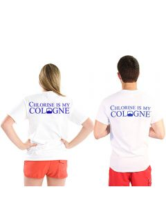 Back of Chlorine is My Cologne™ T-Shirts in White With Blue Print Worn by Two People
