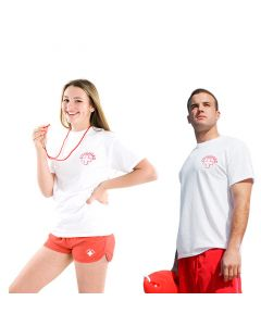 Two Lifeguards Wearing the White Lifeguard T-Shirt - Short Sleeve With Red Lifeguard Logo