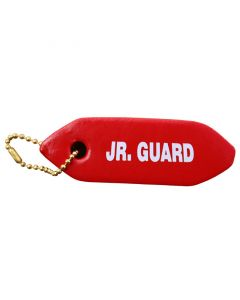Front of JR. Guard Mini Rescue Tube Key Chain in Lifeguard Red With White Print