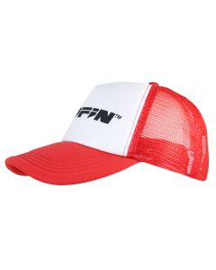 Side of Red KNIFiN® Trucker Cap with Black Logo