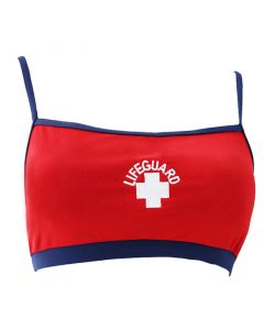 Front of the Two Tone Thin Strap Top in Lifeguard Red™ w/ Navy Band and White Lifeguard Logo