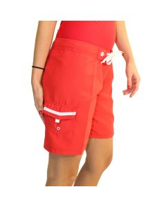 Small Quik™ Drain Velcro® Side Pocket on the Lifeguard Surfies™ in Lifeguard Red