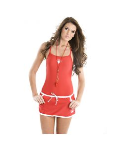 Front of the Lifeguard Mini Skirt in Lifeguard Red