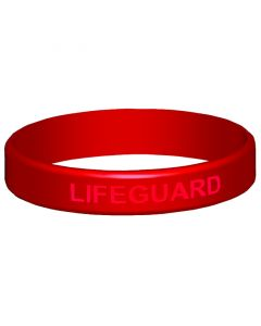 Closeup of Red Lifeguard Wrist Band