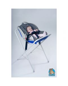 Blue and White Infant Seat Kradle With Black Straps