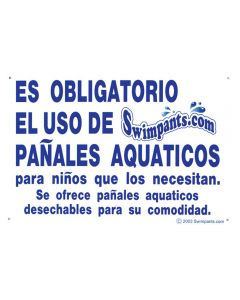 """Blue and White """"Swimpants Required"""" Sign (Spanish)"""