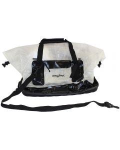 Front of White and Black DryPak Waterproof Duffel Bag DP w/ Shoulder Strap