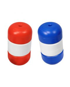 """Two Handi-Lock® Floats 3"""" x 5"""" Float Size 3/8"""" Rope Size Red & Blue with White"""