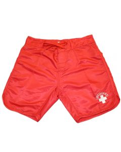 Front of the 100% Nylon Lifeguard Scallop Board Shorts in Lifeguard Red