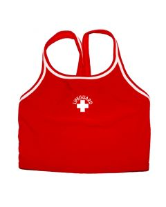 Front of the Lifeguard Thin Strap Tankini Top in Lifeguard Red