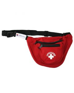 "Front Of Red Lifeguard Hip Pack - 3 Pockets (""U"" Shape) With White Lifeguard Logo And Black Strap"