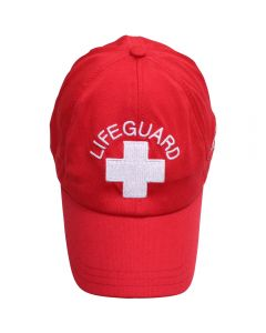 Front of the Lifeguard Xtreme Cooling Cap, Lifeguard Red (Standard Lifeguard Logo)
