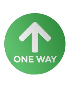 "One Way - Green 12"" Circle - Social Distancing Sticker"