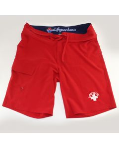 Front of the Lifeguard Stretch Board Shorts Lifeguard Red