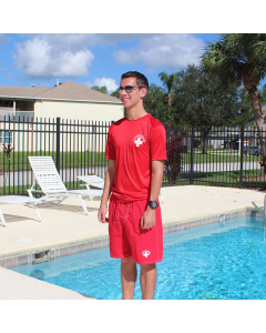 Front of the Lifeguard Rash T-Shirt in Lifeguard Red