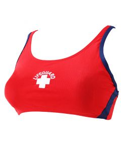Front of the Two Tone Proback Top in Lifeguard Red™ and Navy with White Lifeguard Logo