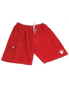 "Lifeguard ""Classic"" Board Short in Lifeguard Red With White Lifeguard Logo and White Drawstring"