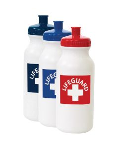 White Hip Pack Lifeguard Bottles with Lifeguard Red, Royal Blue, and Navy Lids and Print