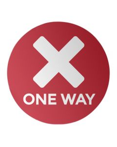 "One Way - Red 12"" Circle - Social Distancing Sticker"