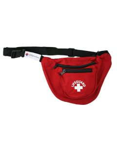 """Front Of Red Lifeguard Hip Pack - 3 Pockets (""""U"""" Shape) With White Lifeguard Logo And Black Strap"""