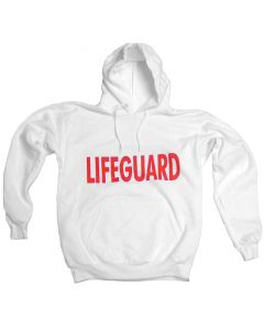 White With Lifeguard Red Text Lifeguard Hoodie™ Sweatshirt Front