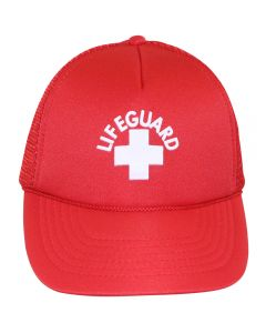 Front of the Lifeguard Trucker (Solid Color) in Lifeguard Red