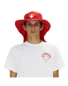 Front of the Lifeguard Adjustable Sun Hat in Lifeguard Red