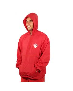 Front of the Lifeguard Pullover in Lifeguard Red