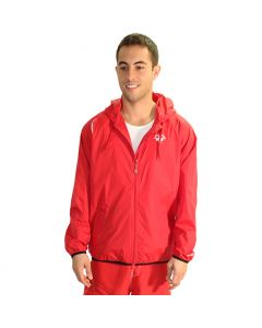 Front of the Lifeguard Wind Jacket in Lifeguard Red