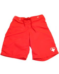 Front of the Lifeguard Board Shorts in Lifeguard Red