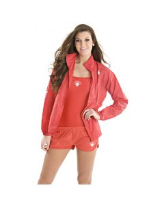 Front of the Lifeguard Ultralight Jacket in Lifeguard Red