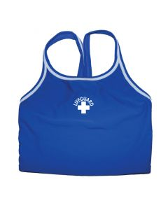 Front of the Lifeguard Thin Strap Tankini Top in Royal Blue With White Lifeguard Logo