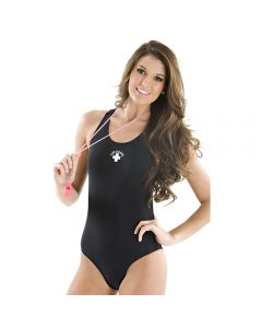 Front of the Lifeguard Super Proback in Black With White Lifeguard Logo Worn by Lifeguard Holding a Pink Whistle