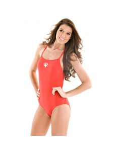 Front of the Thin Strap Lifeguard Proback in Lifeguard Red with White Lifeguard Logo Worn