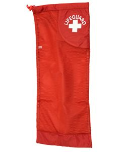 Red Lifeguard Fin Bag Front With White Lifeguard Logo