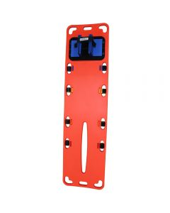 International Orange Emmobilize Rescue 7 Plastic Backboard with Royal Blue Head Immobilizer