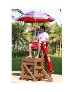Lifeguard Sitting in MLG 640 Everondack® ProSeries™ Medium Lifeguard Chair in Cedar with Red Rescue Tube & Red Umbrella