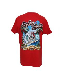 Back of Surfing Santas 2019 Women's Regular Fit Short Sleeve Shirt