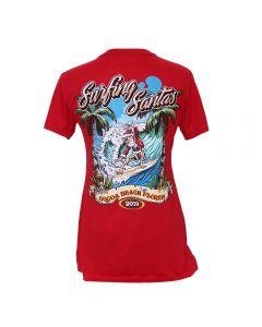 Back of the Surfing Santas 2019 Women's Short Sleeve Shirt