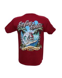 Back of Surfing Santas 2019 Youth Short Sleeve Shirt