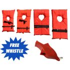 Four Boating Vests Type II in Orange with Black  Straps with Red Safety Whistle