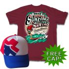 Back of Surfing Santas with Hat Men's Sleeve Shirt