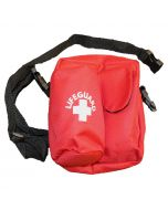 Front of the Ultimate™ Lifeguard Hip Pack in Lifeguard Red With White Lifeguard Logo and Black Strap