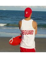 Back of the Lifeguard Tank Top in White with Red Print