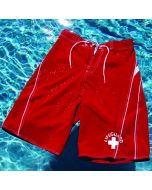 Lifeguard Waterman™ Board Short in Lifeguard Red With White Lifeguard Logo in Pool