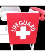 Front of the Debossed Lifeguard Logo Sign in Lifeguard Red