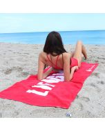 Front of the Lifeguard Beach Towel in Lifeguard Red