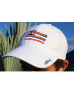 Front of the White Gray Ghost Hawaii Cap With Flag