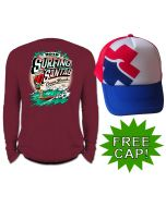 Back of Surfing Santas with Hat Long Sleeve Shirt